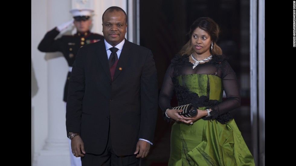 Mswati III was crowned Ngwenyama, or King, of Swaziland in 1986, when he was 18. He is shown here at the White House in 2014 with Inkhosikati, or Queen, LaMbikiza, one of his 15 wives.