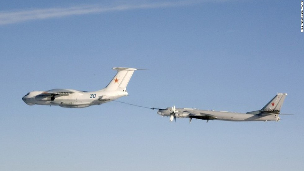 A Russian Il-78 tanker refuels a Tu-95 Bear bomber in a photograph taken by a Norwegian warplane.