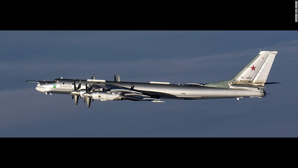 Finnish fighter jets photographed this Russian Tu-95 Bear bomber.