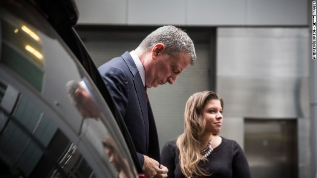 New York City Mayor Bill de Blasio arrives to speak at the Police Athletic League Luncheon on December 22, 2014 in New York City. Tension between the Mayor and the New York Police Department (NYPD) have been high after de Blasio sympathized with protesters who took to the streets after grand juries declined to charge white officers in the killings of unarmed black males. Police commissioner Bill Bratton urged to ease those tensions in the wake of the shooting of NYPD officers, Wenjian Liu and Rafael Ramos, of the 84th Precinct who were killed execution style on December 20 as they sat in their marked police car on a Brooklyn street corner.