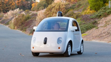 A fully working prototype of Google's self-driving includes cameras and a LIDAR system, but no permanent driver controls like a wheel.