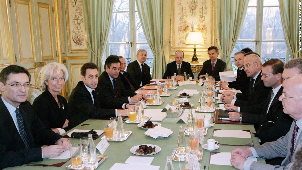 "Lagarde was named the best Minister of Finance in the Eurozone in 2009, by the <a href=""http://www.ft.com/home/uk"" target=""_blank"">Financial Times</a>. <br /><br />Here she sits with Patrick Devedjian, French President Nicolas Sarkozy and French Prime Minister Francois Fillon to meet with French businessmen at the Elysee Palace in Paris in 2009."