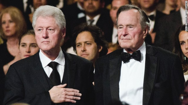 WASHINGTON, DC - MARCH 21: Bill Clinton and George H.W. Bush attend the Points of Light Institute Tribute to Former President George H.W. Bush at The John F. Kennedy Center for Performing Arts on March 21, 2011 in Washington, DC. (Photo by Kris Connor/Getty Images) *** Local Caption *** Bill Clinton;George H.W. Bush