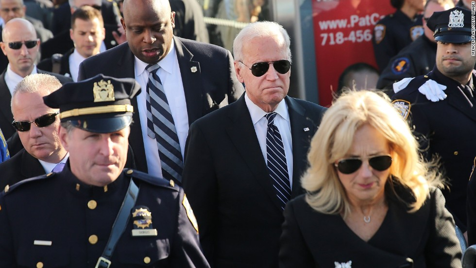Vice President Joe Biden and his wife, Jill, enter Christ Tabernacle Church in Queens for the funeral of the slain NYPD Officer.