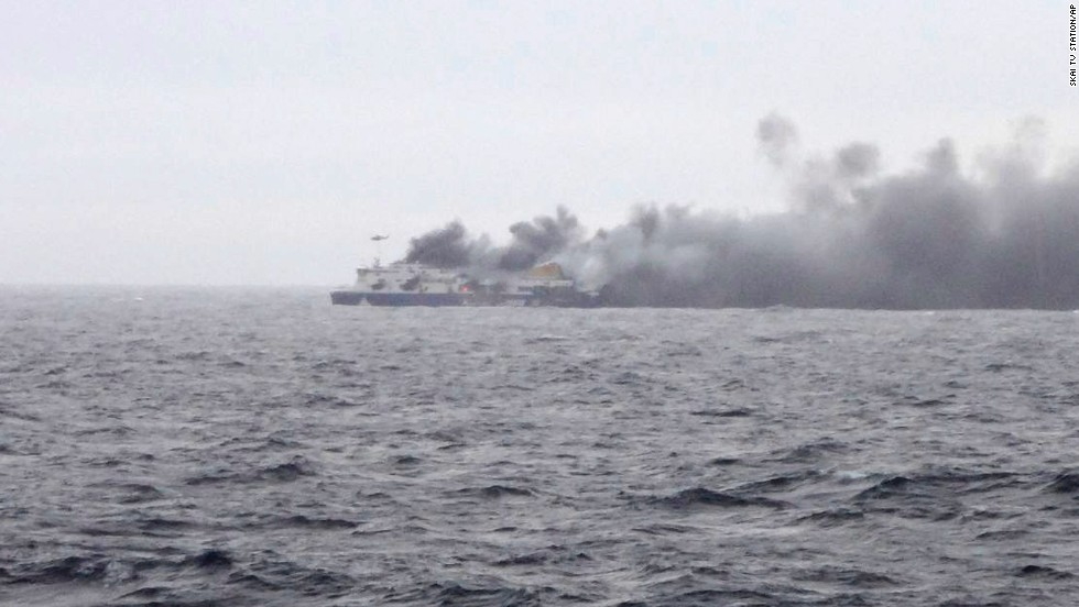 Smoke rises from the Norman Atlantic ferry.