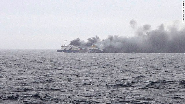 Hundreds aboard ferry burning in Adriatic