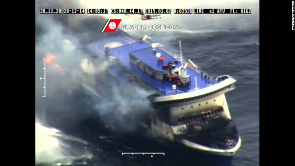 Smoke billows from the Norman Atlantic in the Adriatic Sea on December 28, in this image taken from a video released by the Italian Coast Guard.