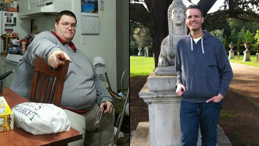 "<a href=""http://www.cnn.com/2014/04/28/health/irpt-weight-loss-brian-flemming/"">Brian Flemming</a> is at 235 pounds -- a total of 390 pounds lost -- and recently finished his first half-marathon. He still has about 30 pounds of excess skin, which he hopes to have removed someday. (iReport / Brian Flemming)"