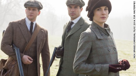 Downton Abbey Season 5, from left to right: Allen Leech as Tom Branson, Tom Cullen as Lord Gillingham, and Michelle Dockery as Lady Mary