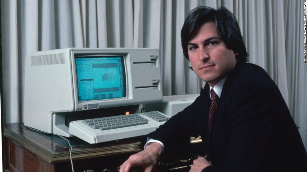 Steve Jobs with a new LISA computer during a press preview in 1983. Baby boomers like to claim this visionary for their own.