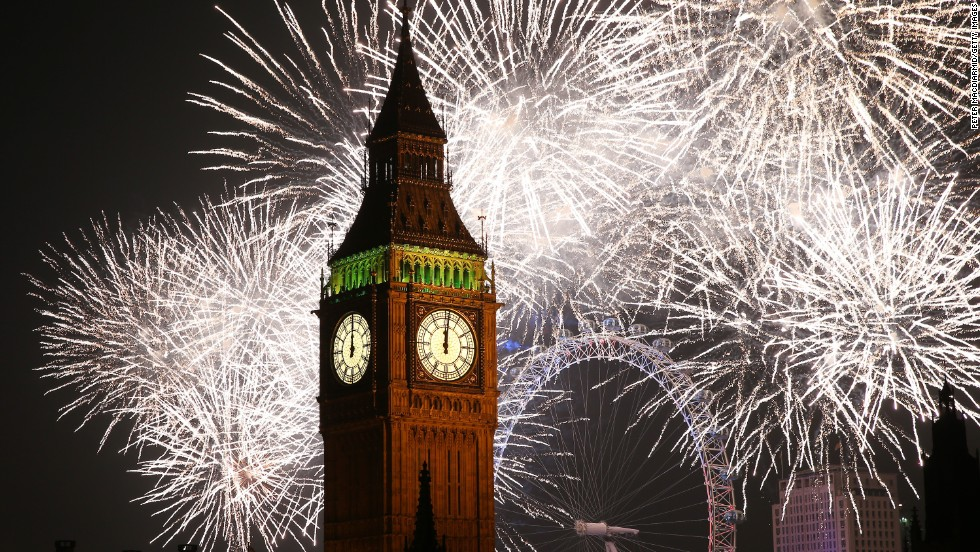 Fireworks light up the skyline and Big Ben in London.