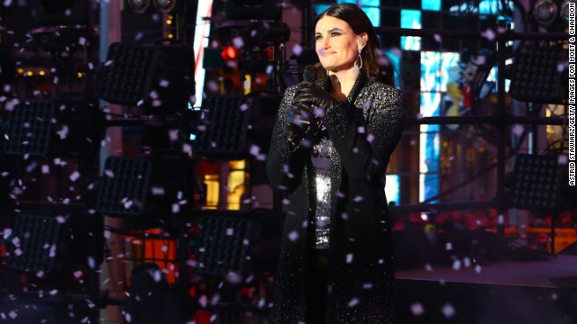 NEW YORK, NY - DECEMBER 31:  Singer Idina Menzel performs as Moet & Chandon Toasts 2015 As The Official Champagne Of New Year's Eve In Times Square on December 31, 2014 in New York City.  (Photo by Astrid Stawiarz/Getty Images for Moet & Chandon)