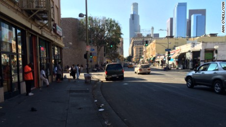 Skid Row is just a few short blocks from the gleaming office towers of downtown Los Angeles.