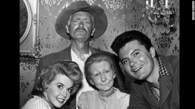 "The cast of ""The Beverly Hillbillies"": Clockwise from top, Buddy Ebsen, Max Baer Jr., Irene Ryan and Donna Douglas."