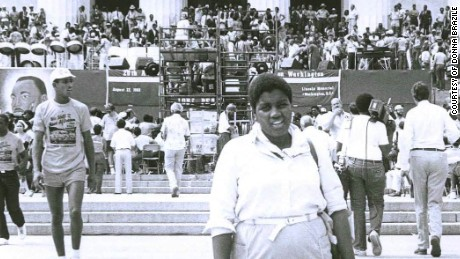 Donna Brazile at the 20th anniversary of the March on Washington in 1983, which she helped organize.