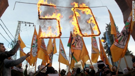 Supporters of the al-Aqsa Martyrs Brigades, Fatah armed wing, rally on January 2, 2015 near Bethlehem.