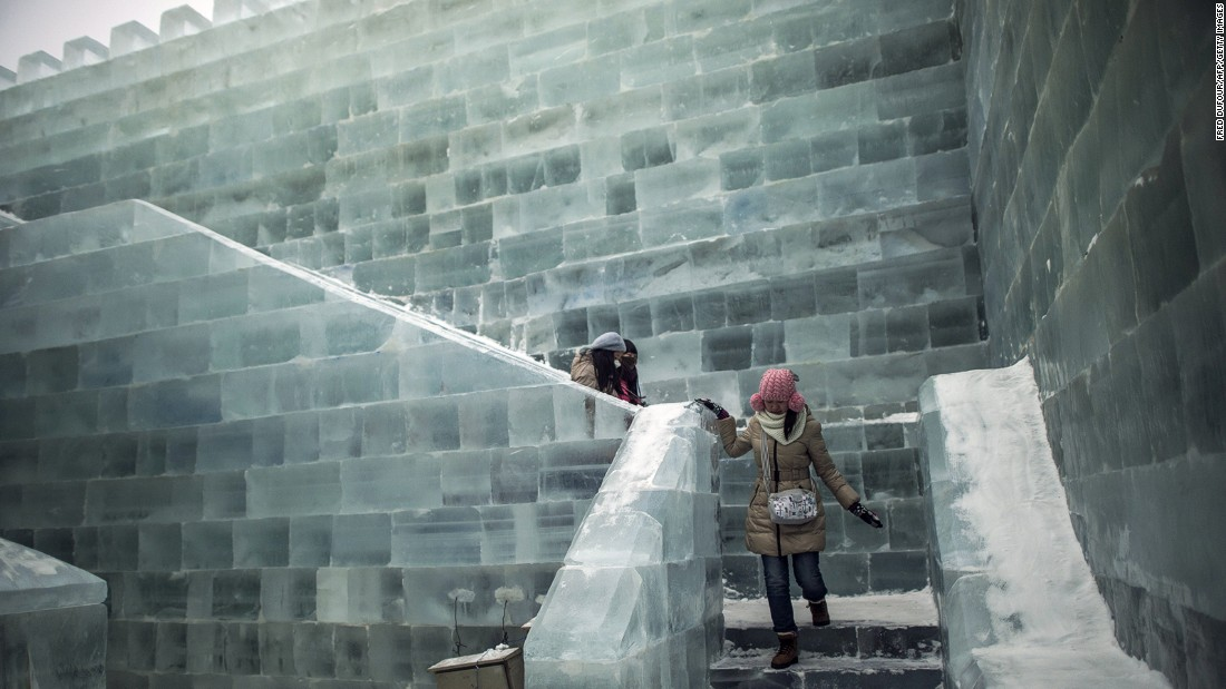 Visitors can walk through a castle of blocks made with ice taken from Harbin's frozen Songhua River.