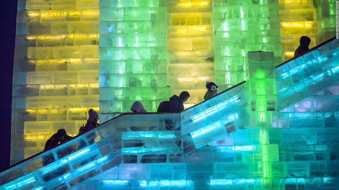 Psychedelic ice castles and fortresses light up like a 1980s video game.