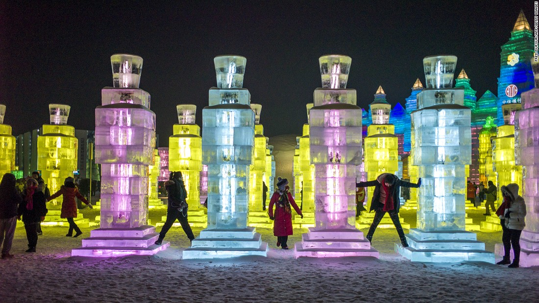 The Ice and Snow World's sculptures are mostly inspired by Chinese fairy tales and landmarks like the Great Wall of China, the Egyptian Pyramids and Iceland's Hallgrimskirkja church.