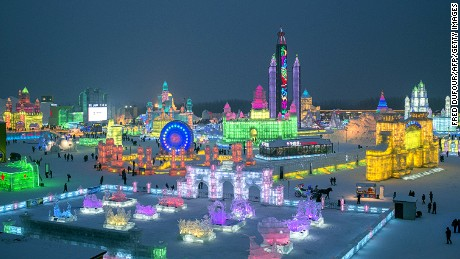 A picture taken on January 4, 2015 shows the China Ice and Snow World on the eve of the opening ceremony of the 16th Harbin International Ice and Snow Festival in Harbin, northeast China's Heilongjiang province. AFP PHOTO / FRED DUFOUR (Photo credit should read FRED DUFOUR/AFP/Getty Images)