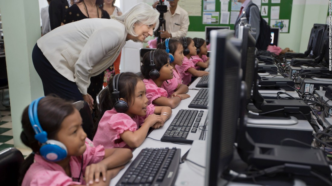 In April 2012, Lagarde was named an officer in the Ordre national de la Légion d'honneur. The Order is the highest decoration in France and is divided into five degrees of which officer is the fourth. <br /><br />Here, Lagarde watches school girls in the computer room at Toutes a l'Ecole school in Kandal province, Cambodia. The school was visited as part of a three country trip to Asia in December 2013.