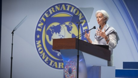 WASHINGTON, DC - OCTOBER 10: In this handout provided by International Monetary Fund, IMF Managing Director Christine Lagarde speaks during the IMF-World Bank Group annual meeting plenary session on October 10, 2014 in Washington, DC. According to the IMF's World Economic Outlook, the global economy will grow 3.3 percent this year and 3.8 percent in 2015, slower than the monetary fund's previous estimate. (Photo by Stephen Jaffe/IMF via Getty Images)