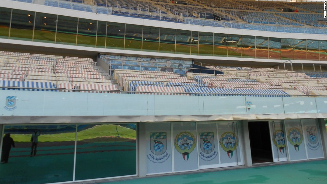 Special care was taken when designing the arena, with metal bars to separate each row as a security measure. A banner featuring the Kuwait team which qualified for the 1982 World Cup overlooks the pitch.