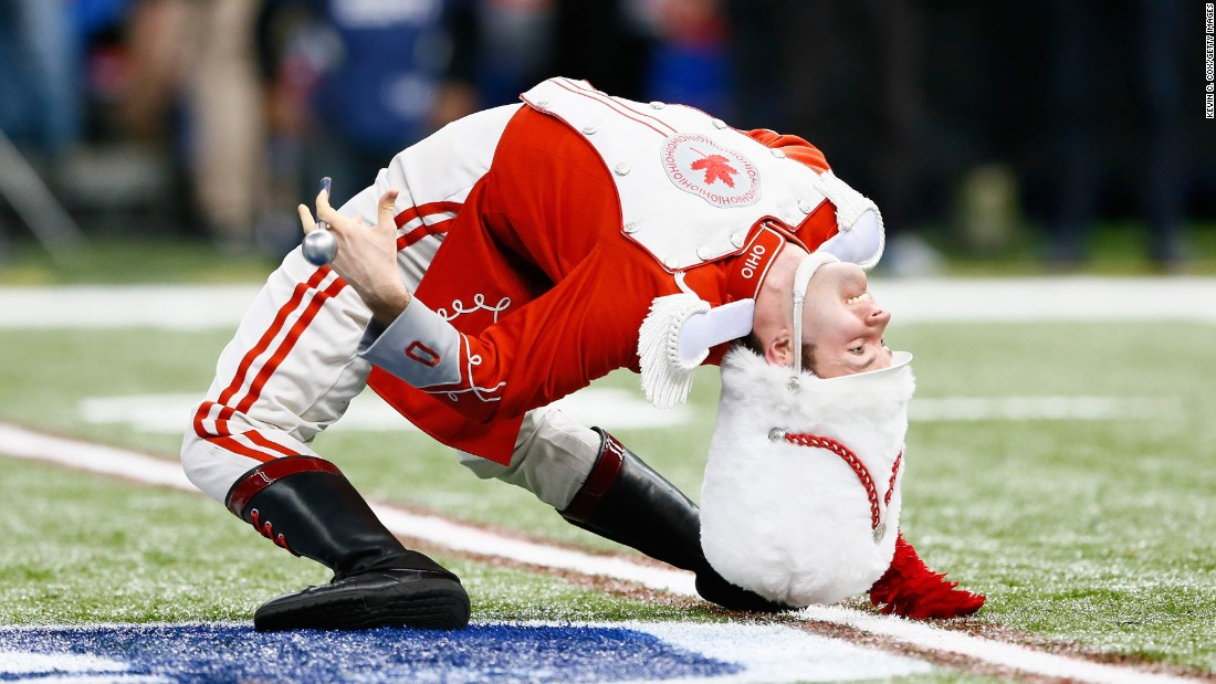 A member of Ohio State's marching band performs before the Sugar Bowl kicked off Thursday, January 1, in New Orleans.