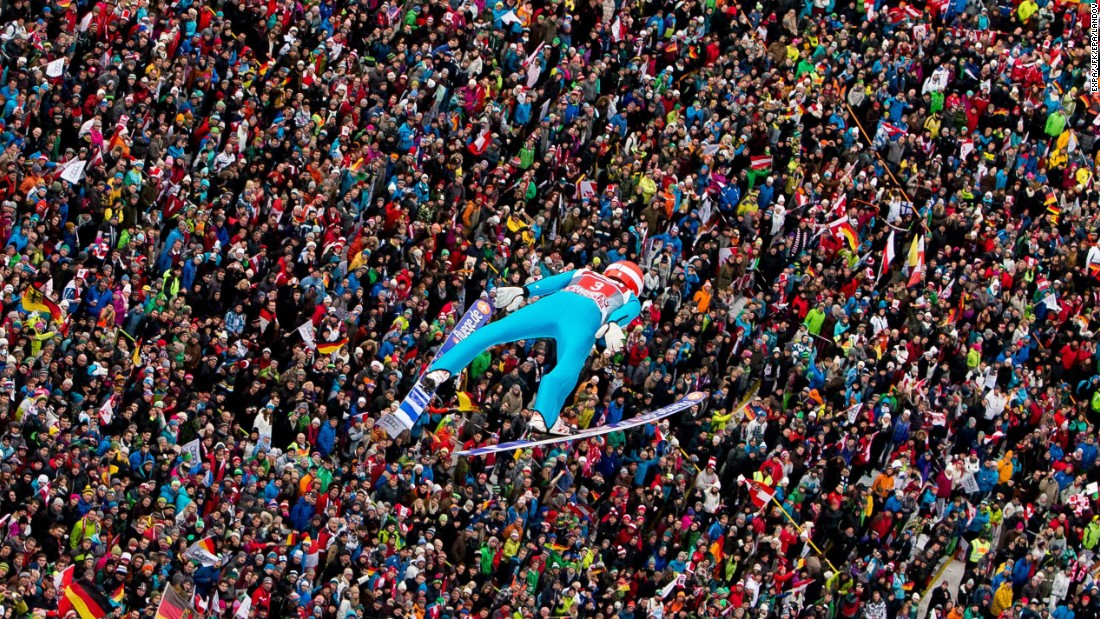 German ski jumper Richard Freitag soars through the air Sunday, January 4, during the Four Hills Tournament in Innsbruck, Austria. He won the third stage of the competition.