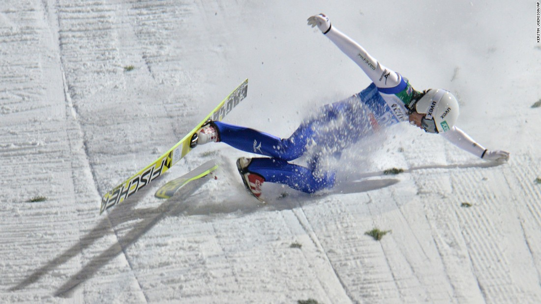 Japanese ski jumper Daiki Ito crashes to the ground Monday, January 5, during the Four Hills Tournament in Bischofshofen, Austria.