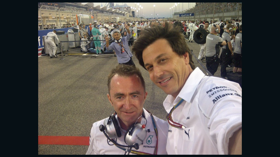 Toto, meanwhile, gets photobombed as he attempts a selfie on the grid at the 2014 Bahrain Grand Prix with Mercedes technical boss Paddy Lowe. The photobomber is the promoter of the Malaysian Grand Prix.