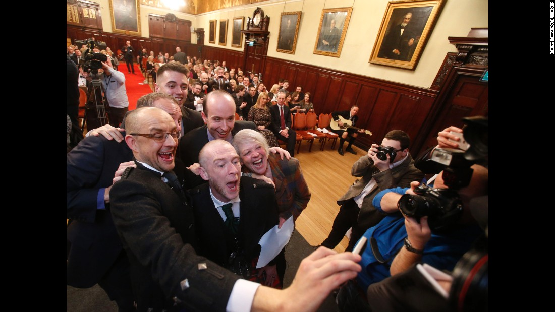 Joe Schofield takes a selfie with his new husband Michael Brown after they tied the knot Wednesday, December 31, in Glasgow, Scotland. It was one of Scotland's first same-sex weddings.