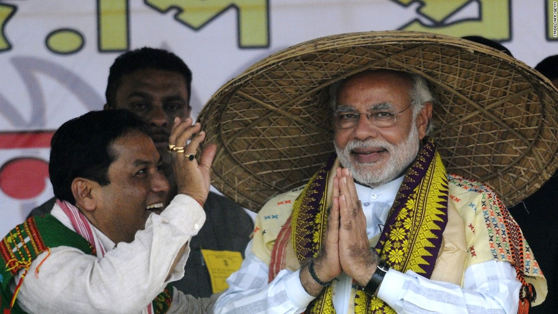 Modi attends a rally in the state of Assam wearing the traditional Japi hat made from bamboo. The Japi is usually worn by Assamese farmers and cowherds and is also a ceremonial item.