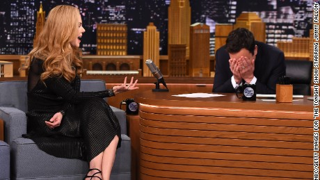 "Jimmy Fallon listens to Nicole Kidman recall a botched meeting on ""The Tonight Show"" on January 6."