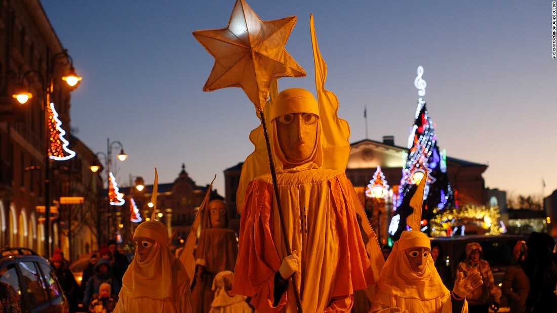JANUARY 7 - VILNIUS, LITHUANIA: People parade through the streets as part of  Three Kings Day celebrations. The day marks Epiphany, the twelfth night of Christmas, when the three wise men visited Christ.