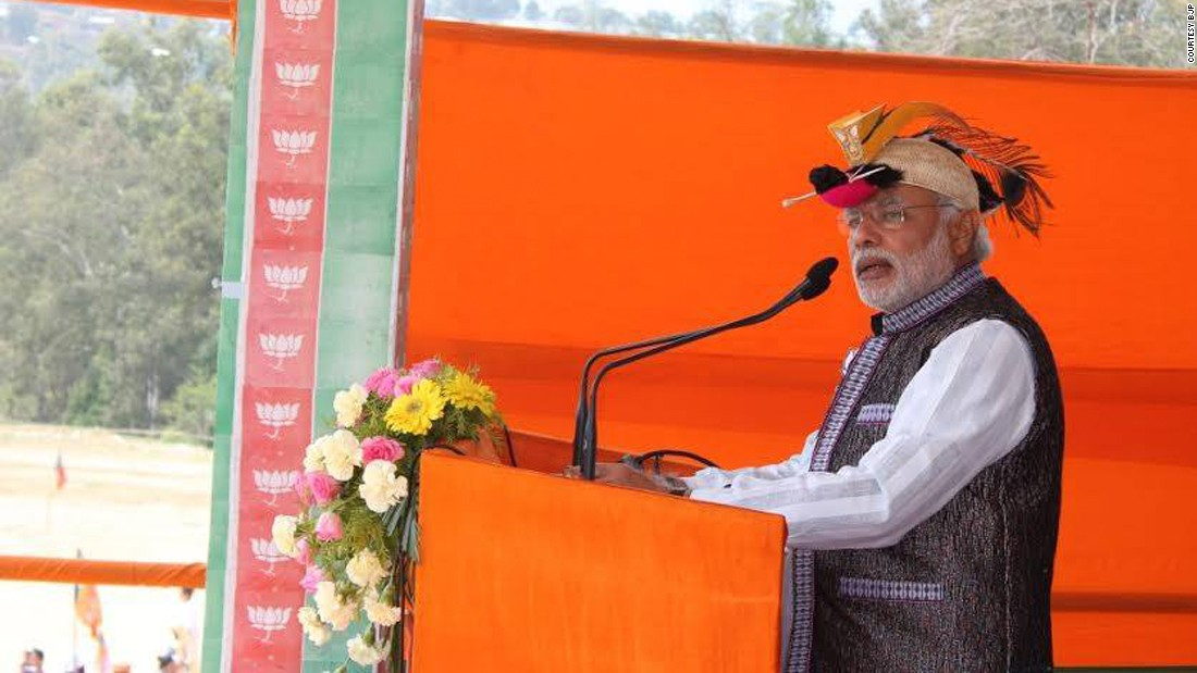 Modi wears a traditional hornbill hat known as a Bopia hat. It is made with the beak and feathers of the rufous-necked hornbill, a species of hornbill found in Northeastern Indian subcontinent. These hats are worn in the Northeastern state of Arunachal Pradesh and are now made with artificial beaks.
