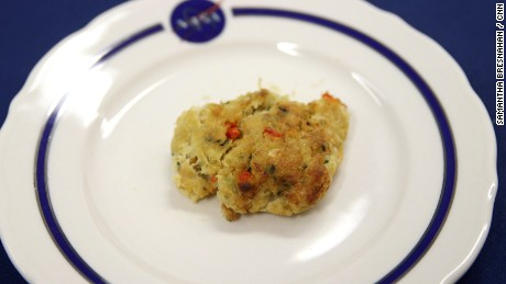 NASA fish cake, as sampled by Vital Signs' Sanjay at the Johnson Space Center in Houston, TX