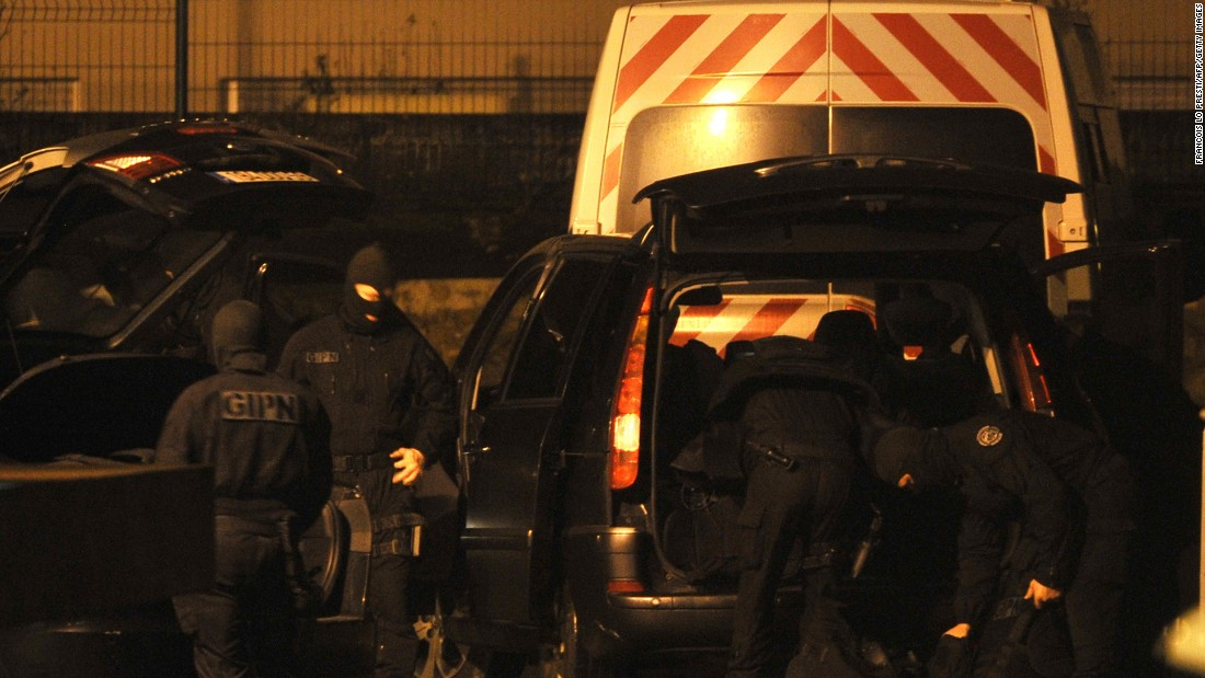 French national police arrive at a police station in Charleville-Mezieres, France, on Wednesday, January 7.