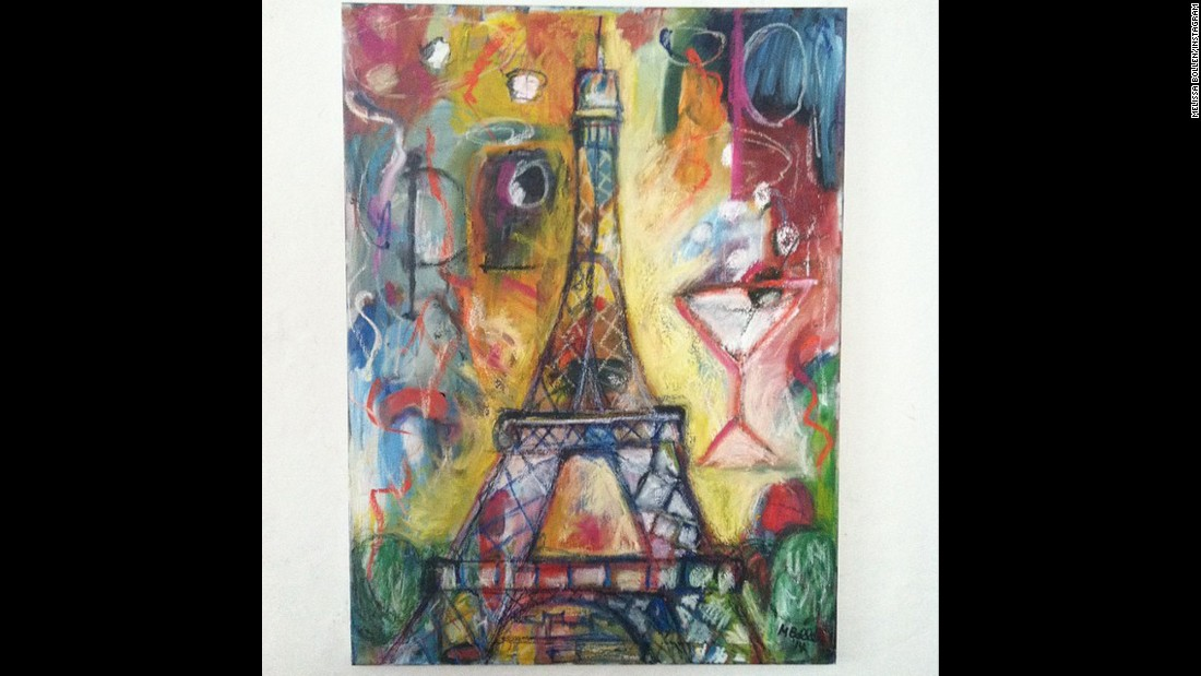 "Illustrator <a href=""http://instagram.com/p/xm0cwOxWZj/"" target=""_blank"">Melissa Bollen</a> drew the Eiffel Tower over an abstract piece. ""I won't let the terrorists ruin the beauty of Paris for me or the rest of us."""