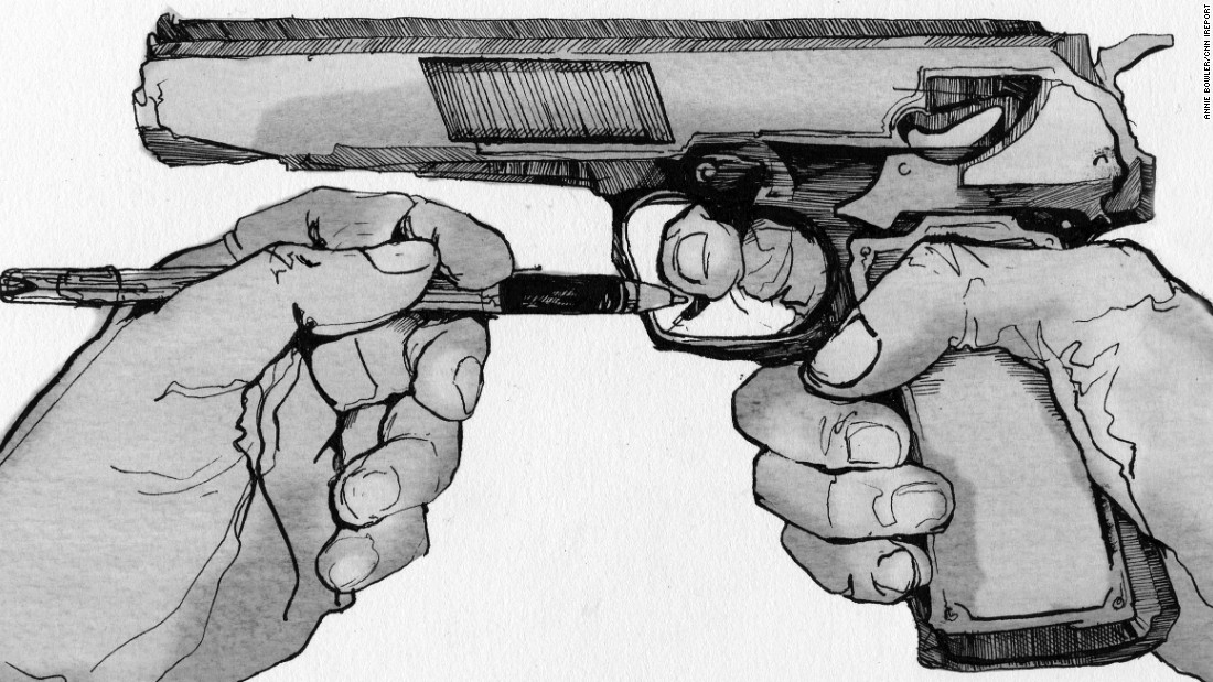 """Which is louder: The pistol or the pencil?"" asks illustrator <a href=""http://ireport.cnn.com/docs/DOC-1204660"">Annie Bowler</a> in this piece, titled ""Dual."""