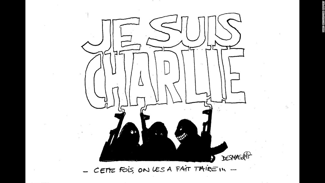 """The men who attacked Charlie Hebdo are congratulating themselves ... but the smoke out of their guns is forming a huge ""I am Charlie"" above their heads, showing that they failed as support to the media they wanted to silence arises around the world,"" said artist Marc Decoux."