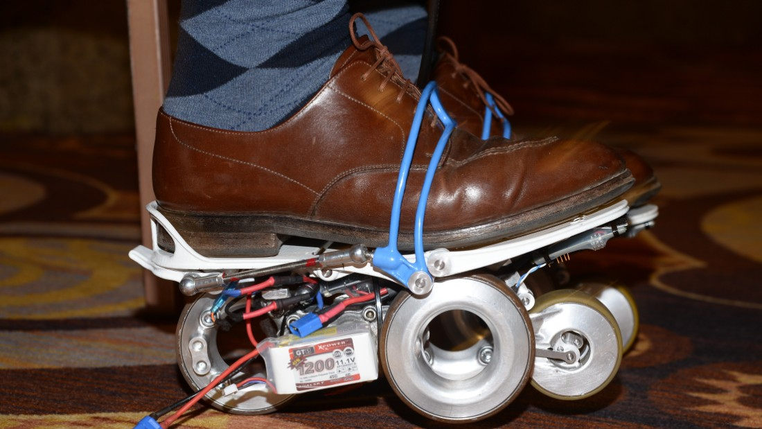 "<a href=""http://www.rollkers.com/"" target=""_blank"">The Rollkers</a> -- a transportation accessory that increases a person's average walking rate up to 7 miles per hour."