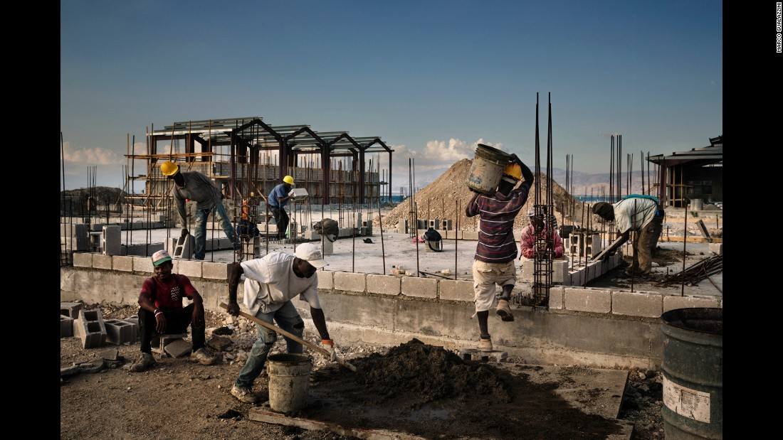 Construction work continues in Waf Jeremie, a neighborhood in Port-au-Prince. The new development will include a pier, a school, an auditorium, supermarkets and restaurants.