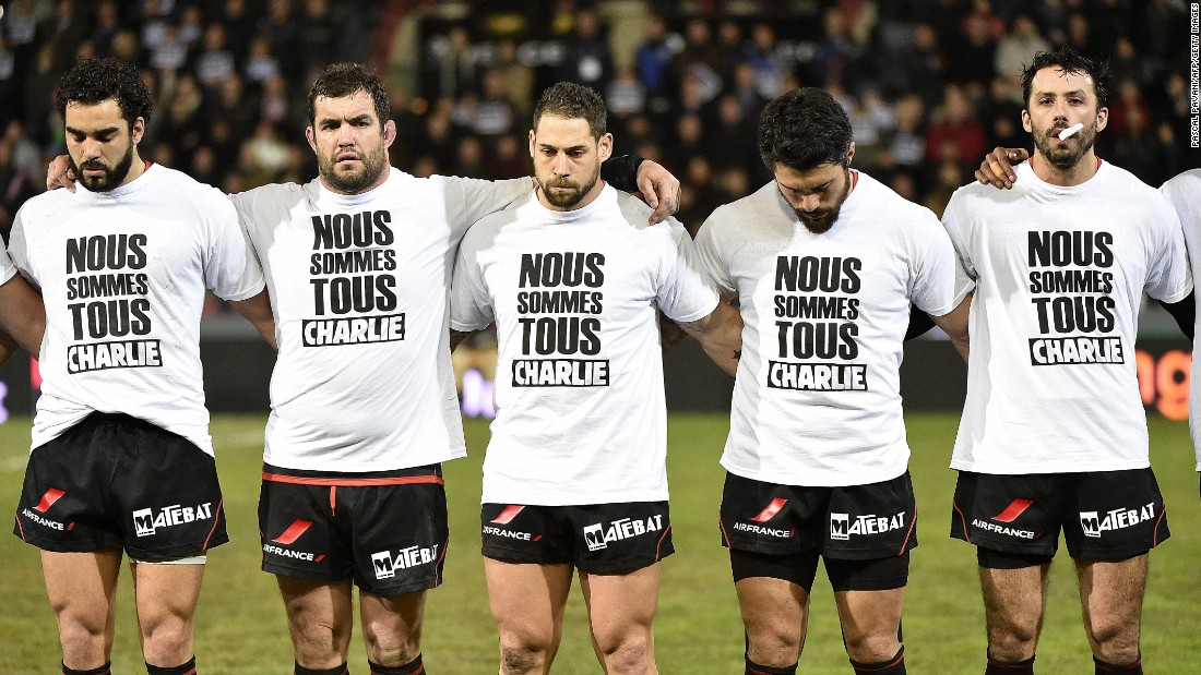 In the southern French city of Toulouse, rugby players stood together as a mark of respect before the French Top 14 rugby union match between Toulouse and La Rochelle on Saturday evening