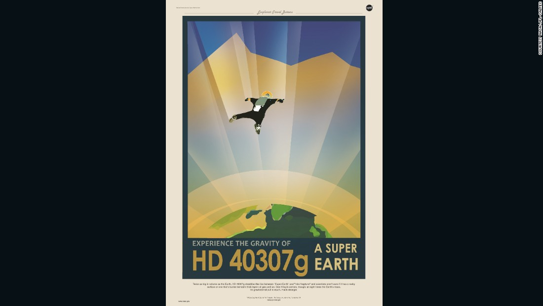 "Twice the volume of our planet, HD 40307g is described on NASA's poster as a ""Super Earth."""
