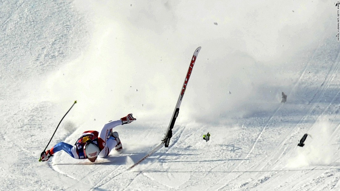 He initially landed on his back, his skis breaking before slamming face down on the snowy surface just a few meters away from the finish line.