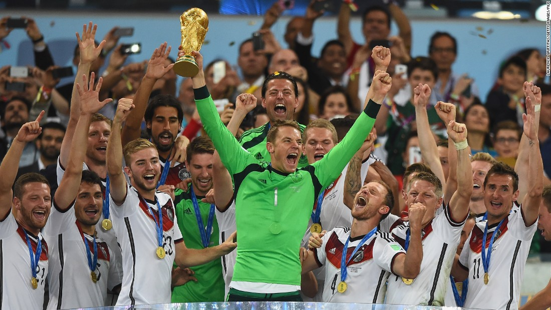Germany is the World Cup holder. Here goalkeeper Manuel Neuer lifts the trophy after his team defeated Argentina 1-0 in extra time in the 2014 final in Brazil.