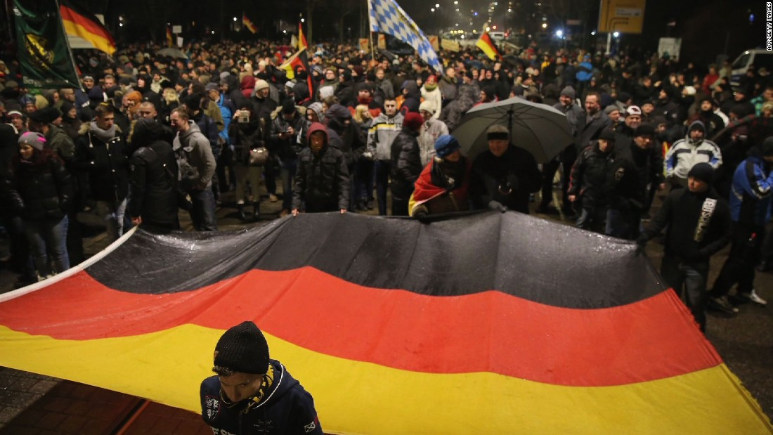 Anti-Islam protesters march in Dresden, Germany