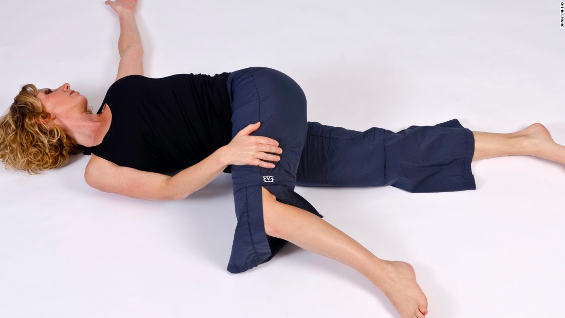 Yoga stretches can release tension and enhance blood flow in the abdomen. Combine this with meditative techniques and diaphragmatic breathing where you focus on exhaling. It will produce a natural sedative effect in the body, yoga trainer Dana Santas says.