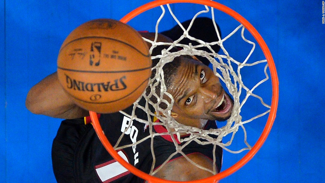 Chris Bosh of the Miami Heat watches a shot bounce off the rim during a game in Los Angeles on Sunday, January 11.